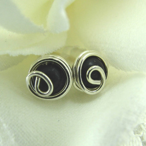 Black Obsidian Post Earrings Wire Wrapped