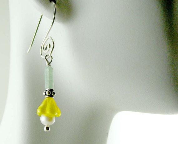 Yellow Flower Dangle Earrings  Sterling Silver  Freshwater Pearl Czech Glass Flowers Spring Earrings SALE 25 Percent OFF  E356