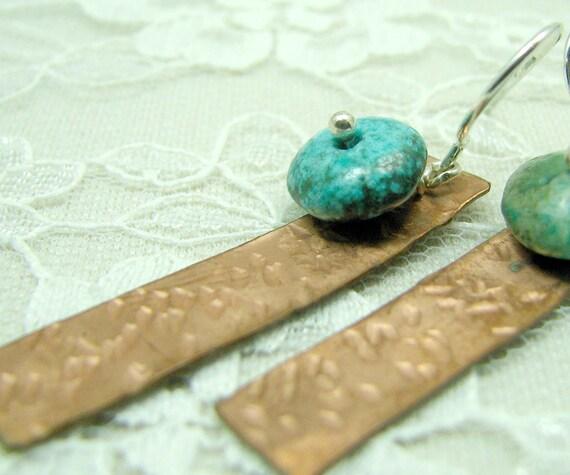 Turquoise Copper Dangle Earrings