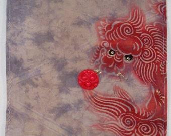 Red Shishi Vintage Kimono Fabric Wall Hanging