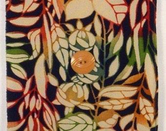 Autumn Deco Roses with Sunrise Kimono Fabric Wall Hanging