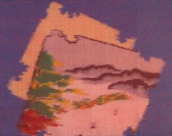 Wish You Were Here Kimono Fabric Collage Wall Hanging