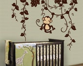 Monkey Removable Vinyl Wall Decal - Monkey in Jungle B type with one monkey