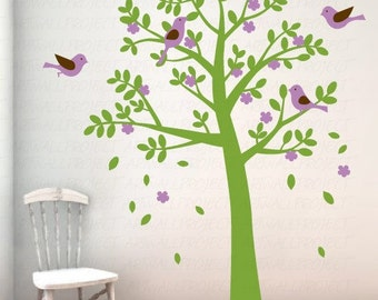 Wall Art Vinyl Removable Decal Nursery Sticker - Rounded Leaf Tree with Birds