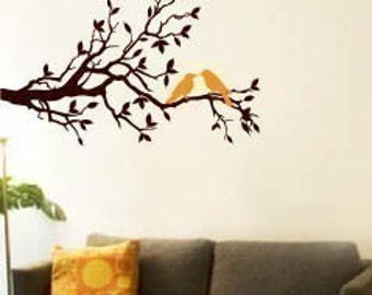Wall Art Vinyl Decal Sticker Home -Tree Branch and Birds I