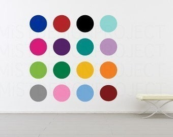 10 inch Circles and Polka Dots Vinyl Wall Decal in 16 colors