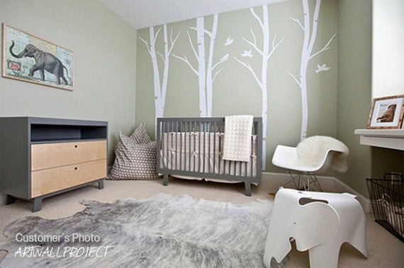 Birch tree wall decals, nursery decal, children vinyl wall decal for girl and boy bedrooms, or any room, with birds - Terrific Forest 101