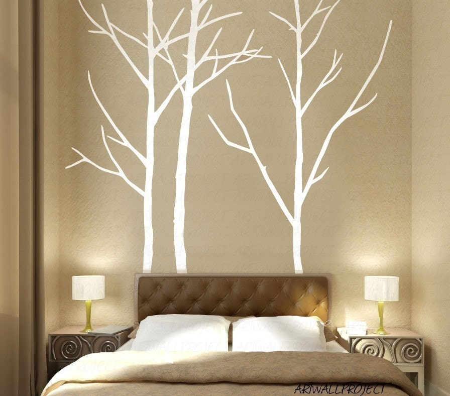 Wall art vinyl decal sticker home style a3 by artwallproject for Diy birch tree mural