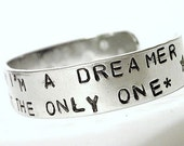 Stamped Bracelet Dreamer Imagine John Lennon Custom Silver Metal Cuff