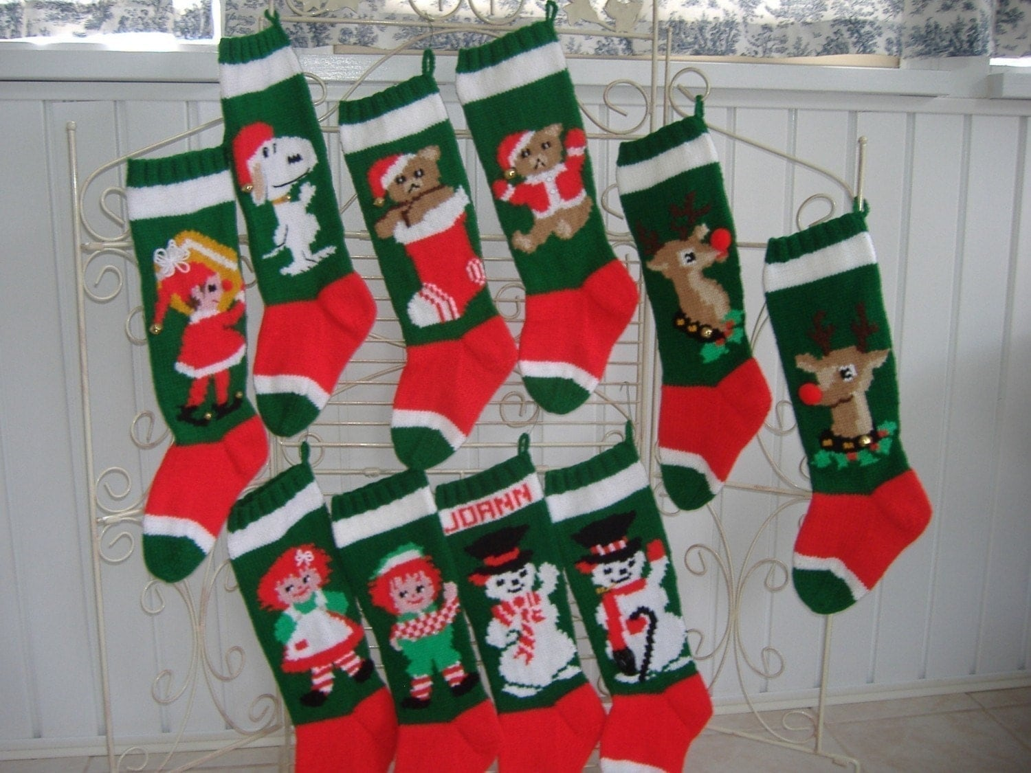Knit Christmas Stocking Pattern With Name : Hand Knit Christmas Stocking