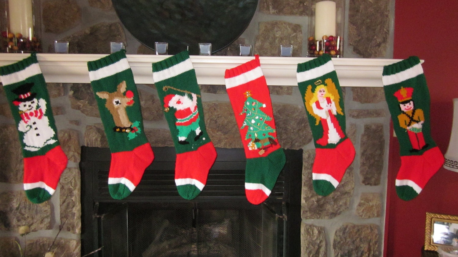 Handmade Christmas Stockings Hand Knit Christmas Stocking