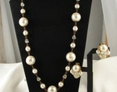 RESERVED for Poochie27 Vintage 1950's Large Ball Beaded Necklace and Earrings Set