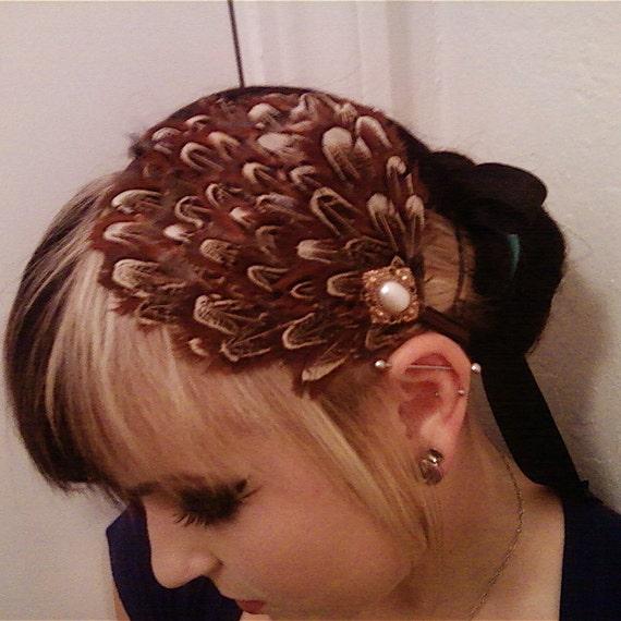 Karilynne Pheasant Feather and Pearl Hair Fascinator
