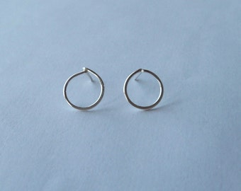 Simple small sterling silver circle studs