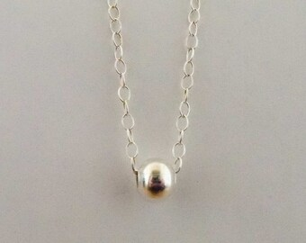 Simple sterling silver round bead necklace