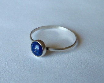 Blue lapis lazuli and sterling silver stacking ring