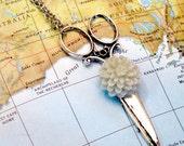 CLEARANCE SALE  Seafoam Flower Silver Scissors Necklace