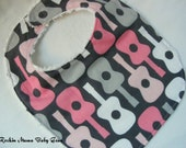 ON SALE - Pink Rockin Guitar Baby Bib - fits up to 12 months