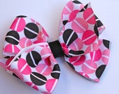 Pink and Black Dots Basic Bow