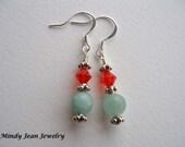 Dangle Earrings, Gemstone and Crystal Earrings, Orange, Aqua, TROPICAL