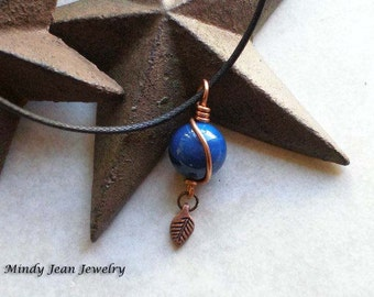Copper Wire Wrapped Pendant Necklace, Wire Wrapped Bead Necklace, Blue Bead Necklace, Agate Pendant, Blue Agate