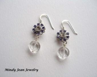 Seaside Daisy Dangle Earrings, Dangle Earrings, Crystal Flower Earrings, Purple Flower Earrings