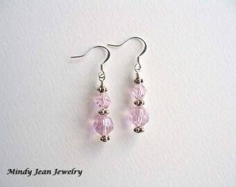 Crystal Dangle Earrings, Pink Dangle Earrings, Pink Earrings