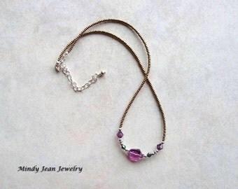 Crystal Necklace, Swarovski Crystal Necklace, Purple Crystal Necklace, Czech Glass Necklace, Silver Beads