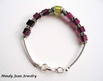 Crystal Bracelet, Crystal Bead Bracelet, Crystal Cube Bracelet, Purple, Green, NAPA
