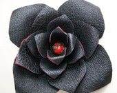 L Flower-Recycled Leather- Black and Red