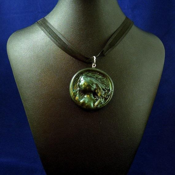 Dark Green Cthulhu Cameo Necklace - Handmade Polymer Clay Jewelry