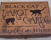 Primitive Halloween Wood Box - Black Cat TAROT CARD BOX