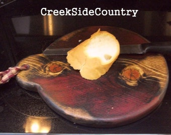 PRIMITIVE Wood Large Bread Board, Small Stove Top Cover Board, Cheese Board or Hot   Pad -  FAAP