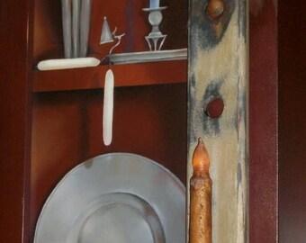 PRIMITIVE Wood Shaker peg rack Candle Holder Shelf