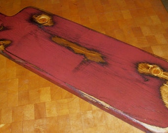 Primitive Wood Long Handle French Bread Breadboard or Candle Holder Tray