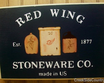 Primitive Country Wood Sign - RED WING Stoneware