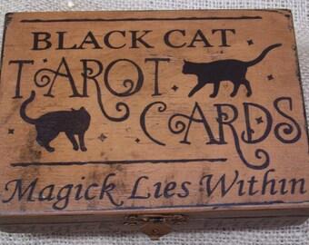 Primitive Halloween Wood Box -  Black Cat Tarot Box