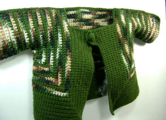 Crochet Cardigan - shades of green and brown