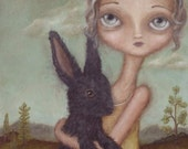 Ingrid and the Grey Bunny art print - animal art rabbit painting cute bunny print