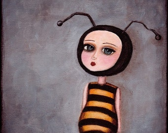 Art Print - The Bee Girl - giclee print from original painting, bee art, honeybee poster
