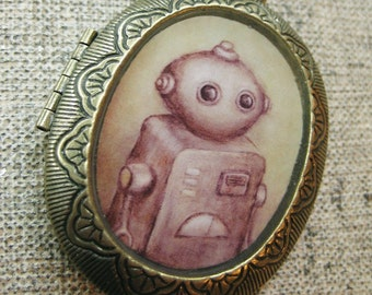 Antique Robot Locket