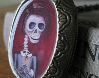 Day of the Dead Locket - Dia de los Muertos