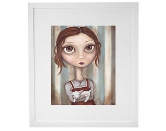Lena and her Little Lamb print - 8x10 art print, giclee, portrait painting