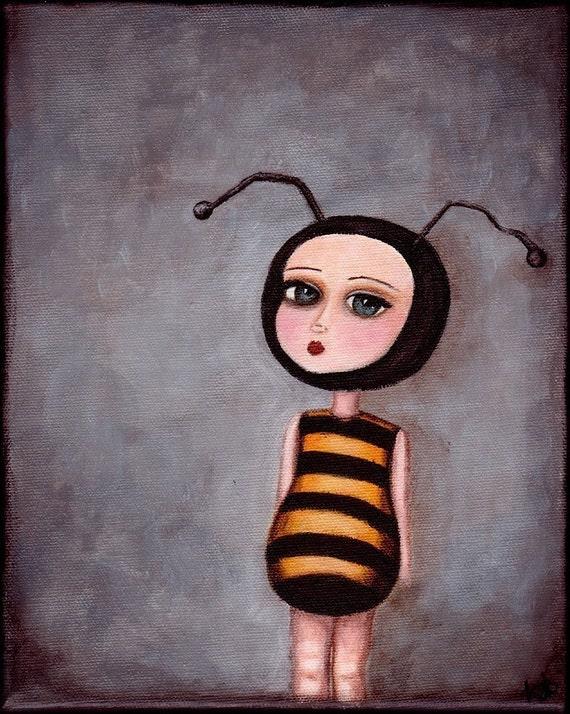Art Print - The Bee Girl - giclee print from original painting, bee art, honeybee poster