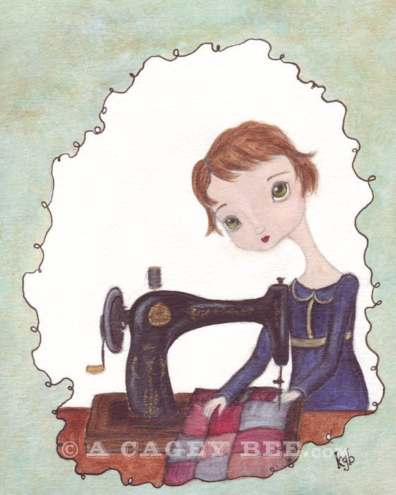 The Seamstress cute art print - art for the craft room sewing machine quilter