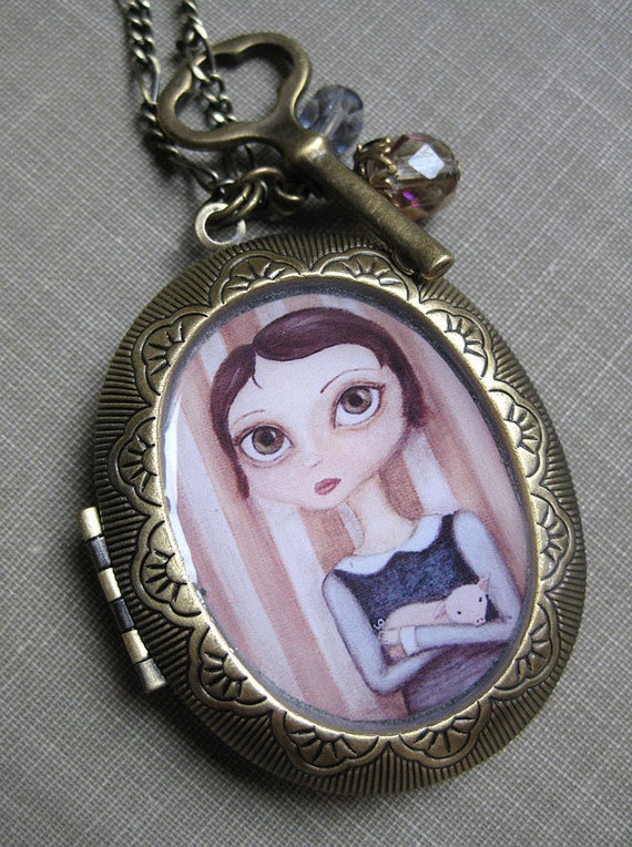 Locket - Sophie and her Pig antique locket