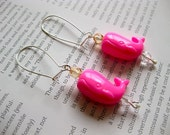 Fluorescent Pink Whales - Earrings
