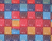 Zimbabwean hand printed and hand dyed batik - fat quarter of small bright Guinea Fowl