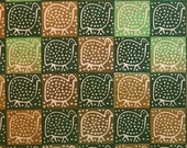 Zimbabwean batik fabric - fat quarter of small green Guinea Fowl SALE