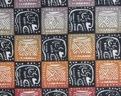 Zimbabwean hand printed and hand dyed batik - fat quarter of natural Elephants/Headrests